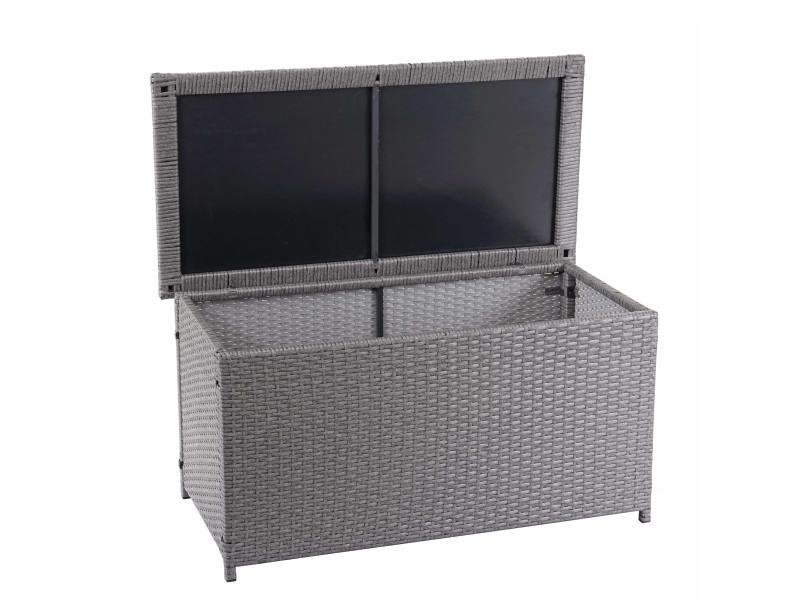 Coffre à coussins en polyrotin, hwc-d88, coffre jardin ~ basic gris, 51x115x59 cm, 250l