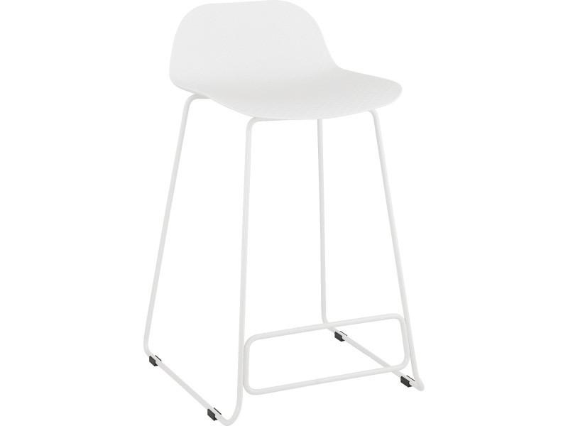 Tabouret de bar en plastique blanc/blanc - 49 x 53 x 85 cm - usage professionnel -pegane