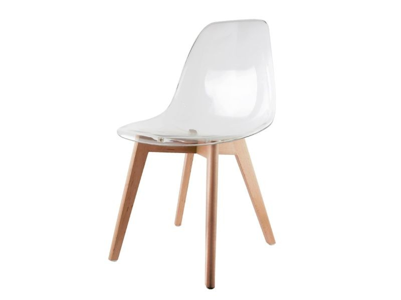 Chaise scandinave transparente - h. 10 cm - blanc