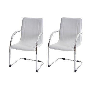 Lot de 2 chaises bureau visiteur en simili cuir blanc avec for Chaise cuir blanc conforama