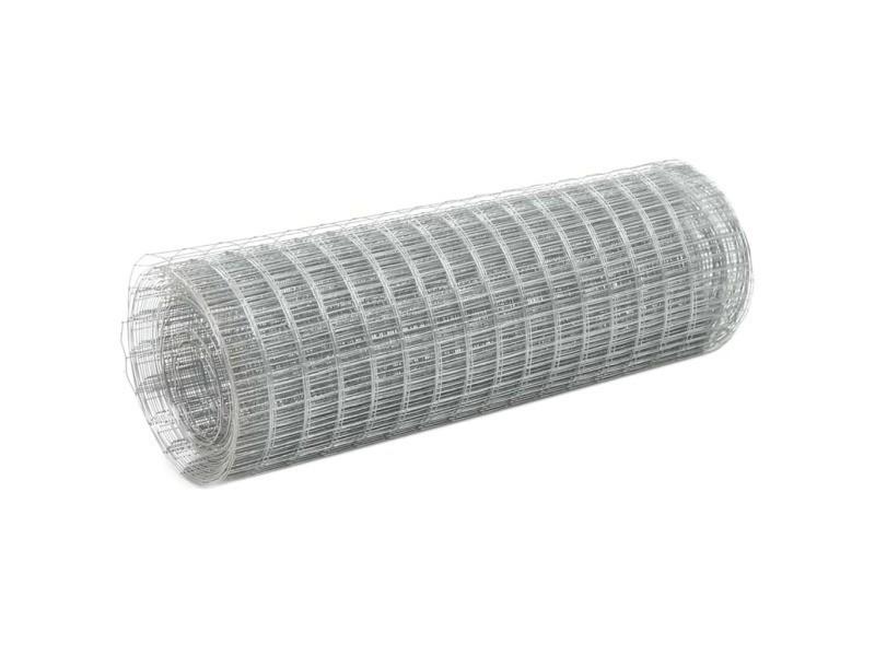 Vidaxl grillage pour volière acier galvanisé 25x0,5 m argenté 143618