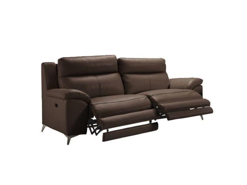 Beausoleil canape 3 places 2 relax electrique + tete electrique - cuir chocolat - l 217 x p 95 x h 97 cm MONACO3REMAR