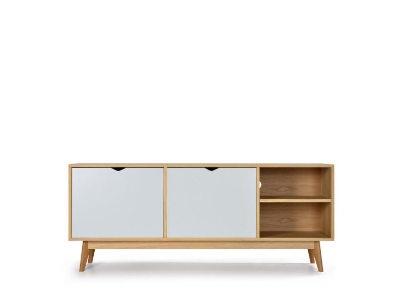 Ström - meuble tv design 2 portes chêne - couleur - blanc craie