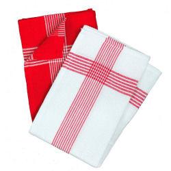 2 serviettes torchons nid d'abeille 50 x 70 cm rouge et blanc