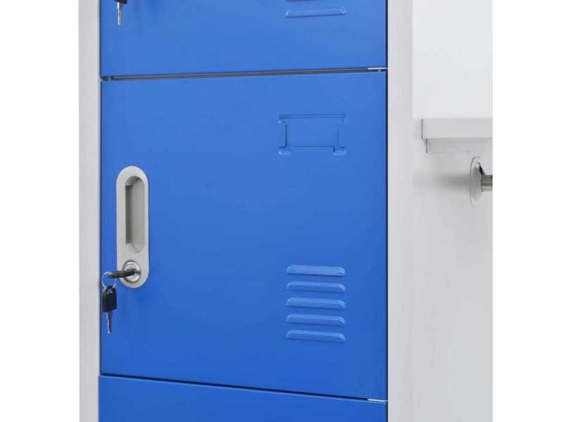 Icaverne - casiers et armoires de rangement famille vestiaire avec porte-manteau métal 110x50x180 cm bleu et gris