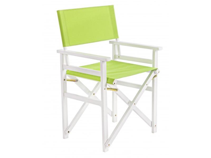 Fauteuil en bois coloris vert - dim : l 55 x p 48 x h 86 cm -pegane-