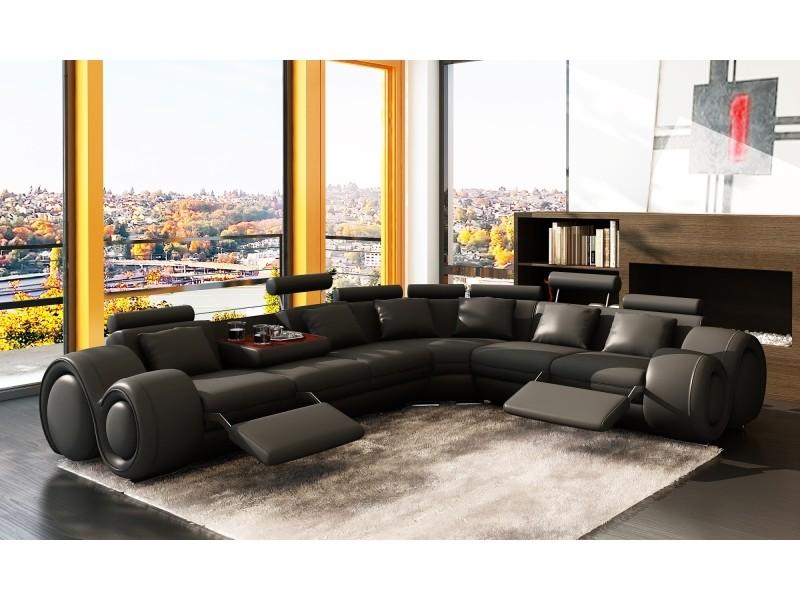 Canapé d'angle cuir noir positions relax oslo (angle droite)-