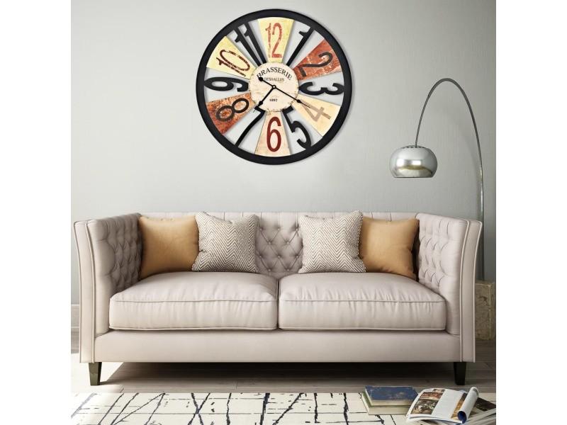 Contemporain horloges ligne nassau horloge murale métal 60 cm multicolore