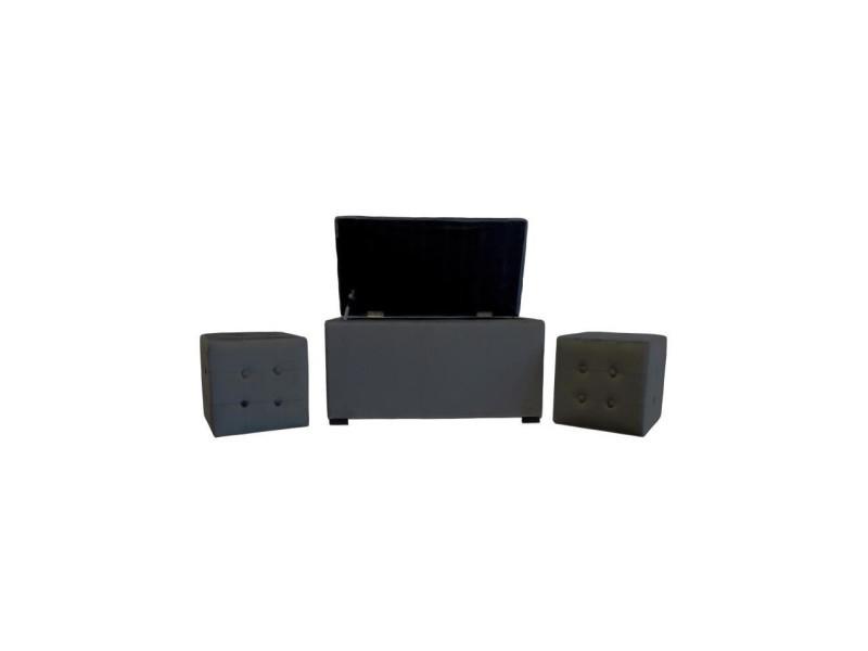 Banc coffre + 2 poufs velours chester - 85 x 44 cm et 35 x 35 cm - gris anthracite