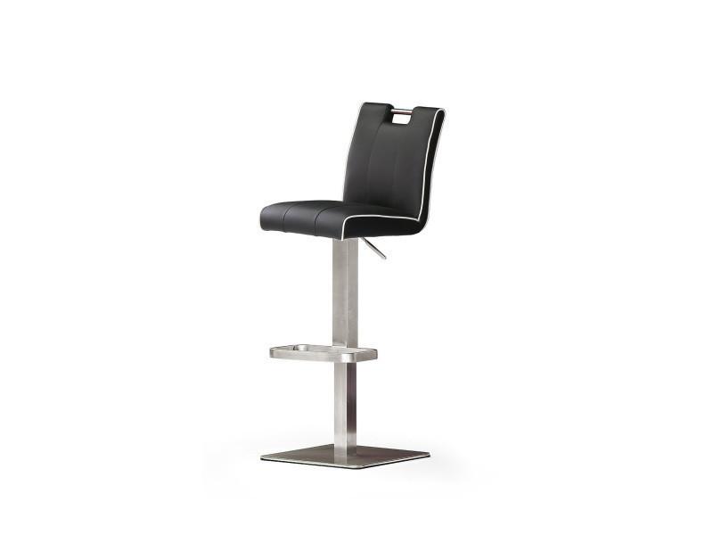 Tabouret de bar en cuir socle carré, acier brossé, rotation 180° coloris noir - dim : h 89-112 x 40 x 51 cm -pegane-