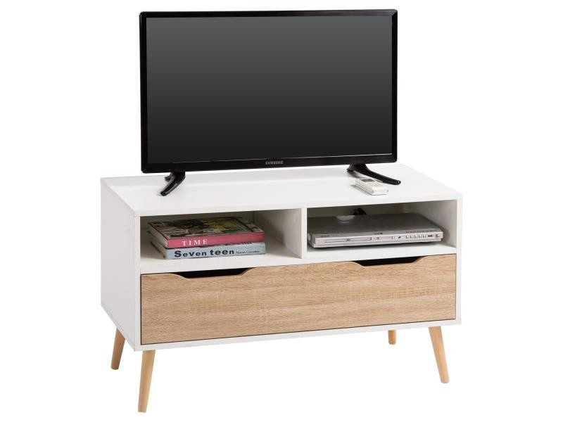 meuble tv genova banc t l vision design avec 1 tiroir et 2 niches m lamin blanc mat et d cor. Black Bedroom Furniture Sets. Home Design Ideas