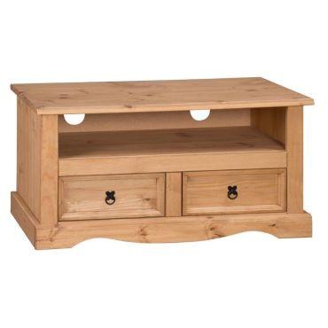 Corona 5 meuble tv cran plat 2 tiroirs bois pin antique vente de meubl - Meuble television ecran plat ...