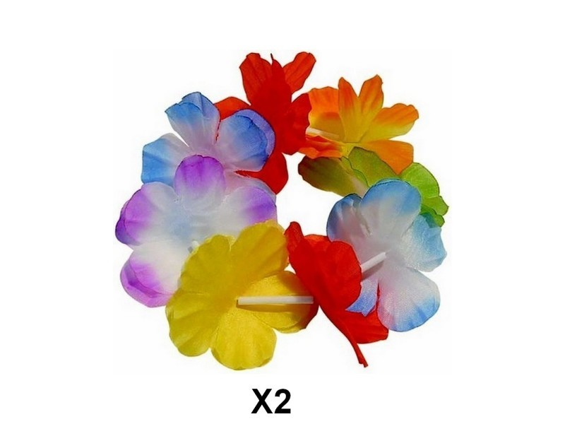 2 bracelet à fleur multicolore hawaïen hawaï vente de déguisement