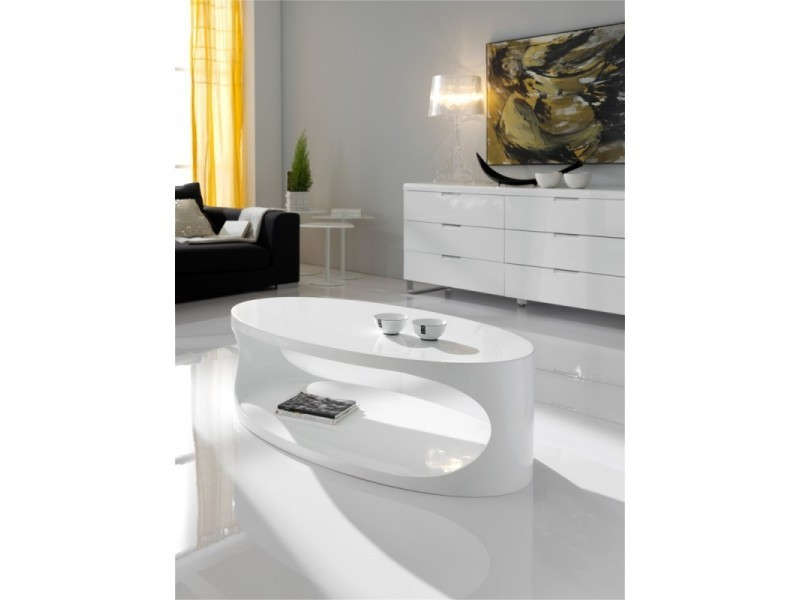 Table basse ovale en bois laqué blanc brillant oriana - l 120 x l 65 x h 37.5