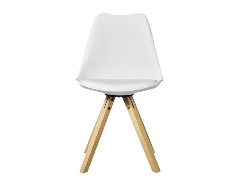en.casa] 2x chaise de design blanc rembourré salle à manger