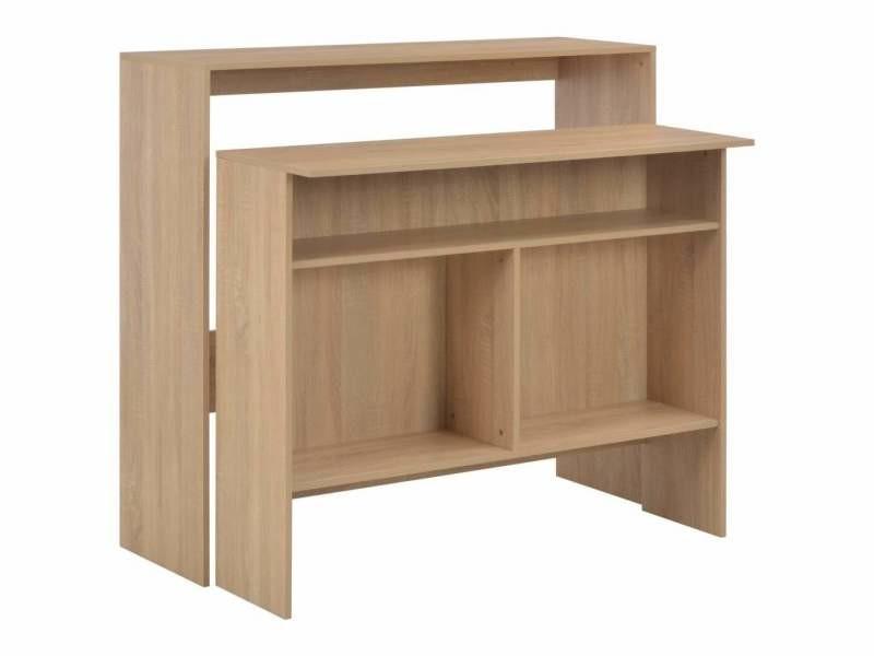 Table haute mange debout bar bistrot avec 2 dessus de table chêne 130 cm marron helloshop26 0902038