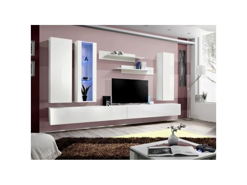 Ensemble meuble tv mural - fly v - 320 cm x 190 cm x 40 cm - blanc
