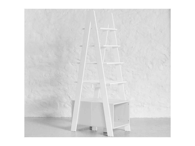 Étagère double de rangement design bois blanc