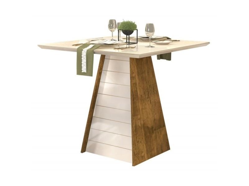 Table à manger 4 places carrée bois et blanc