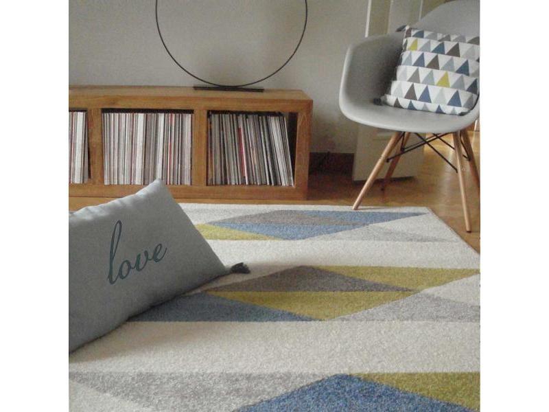 Tapis salon scandinave om trique bleu 160 x 230 cm fabriqué en ...