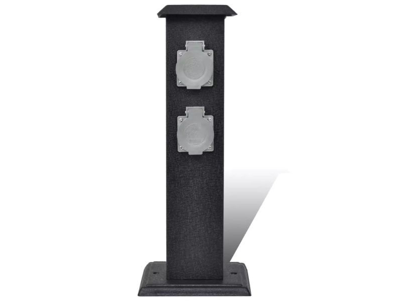 Icaverne - prises de courant gamme borne jardin électrique 4 prises noir