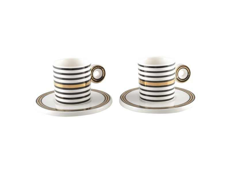 Coffret duo tasses à café à rayures