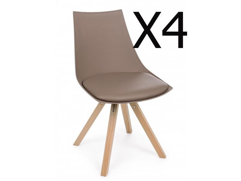 Lot de 4 chaises en bois coloris taupe - dim : l 53 x p 47,5 x h 78,5 cm -pegane
