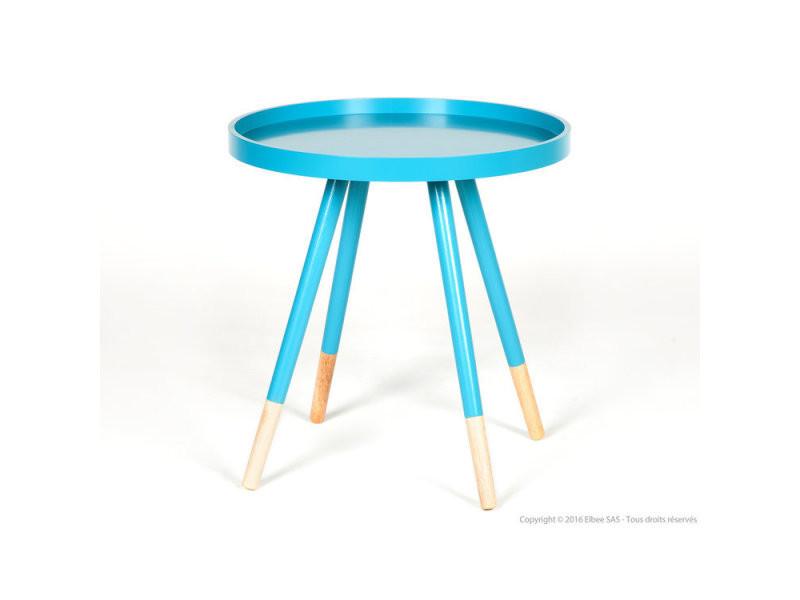 Table Basse Ronde Scandinave En Bois Bleu Elin Vente De Table