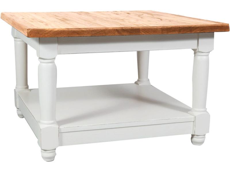 Table basse à fumer champêtre en bois massif structure blanche plan finition naturelle l70xpr70xh45 cm