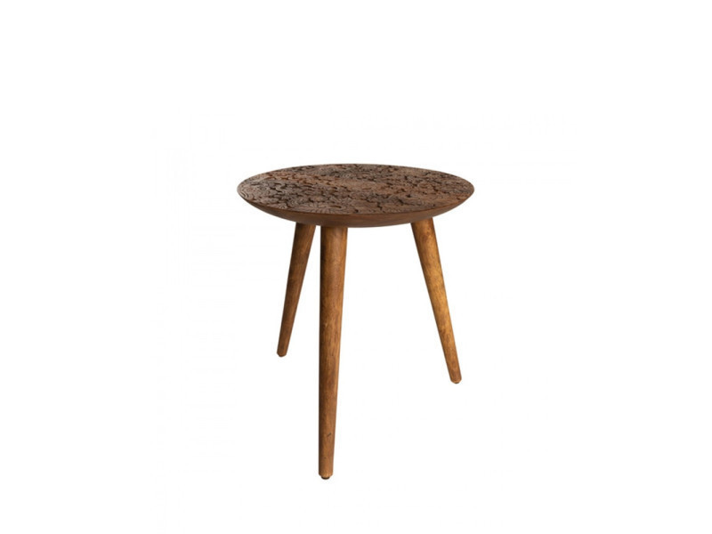 Table d 39 appoint ronde en bois grav by hand dutchbone - Conforama table d appoint ...
