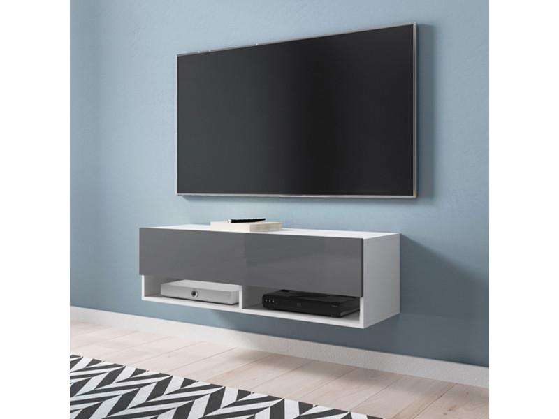 Meuble tv - wander - 100 cm - blanc mat / gris brillant
