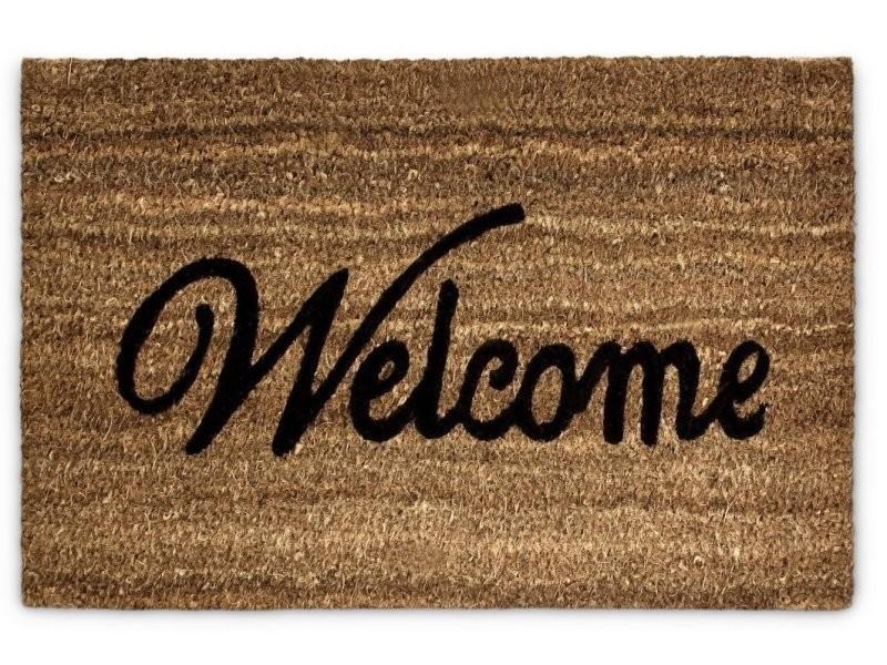 Paillasson tapis porte d'entrée essuie-pieds fibre de coco marron 60 x 40 cm helloshop26 2013032