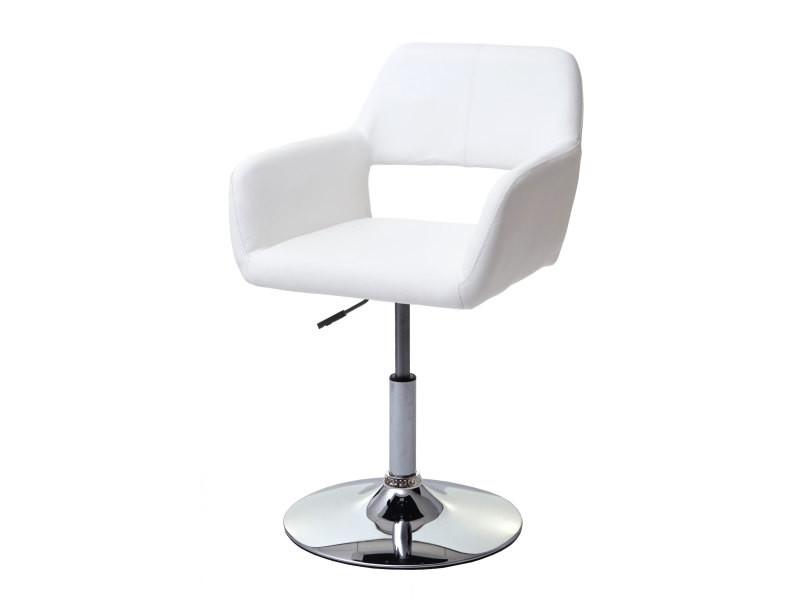 Chaise de salle à manger hwc-a50 iii, style rétro années 50, similicuir ~ blanc, pied en métal chromé