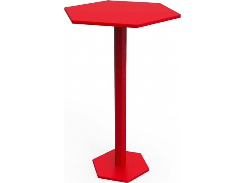 Table haute bar hexagone rouge coquelicot TaH_HEX_hex80_h105_Coq
