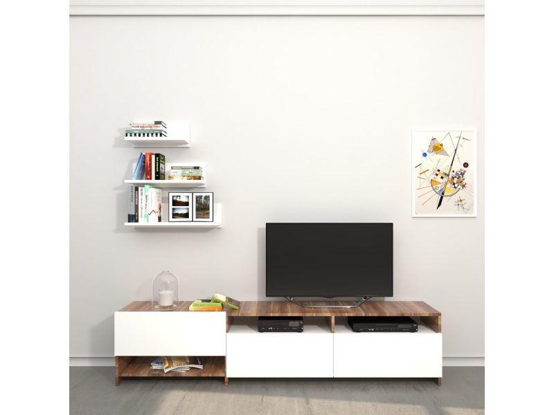 Meuble tv avec étagère design campbell - l. 180 x h. 40 cm - marron noix