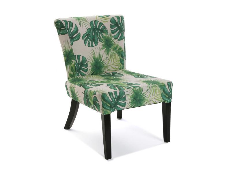 Fauteuil imprimé feuilles palmier en vert - l 50 x l 64 x h 73 cm -pegane-