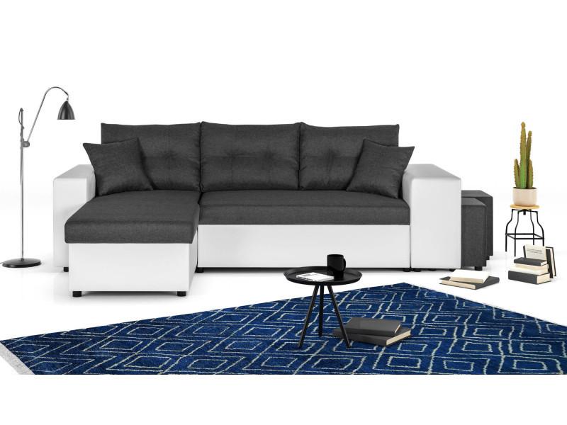 California - canapé d'angle réversible - convertible avec coffre et étagère de rangement - en simili et tissu couleur - blanc / gris