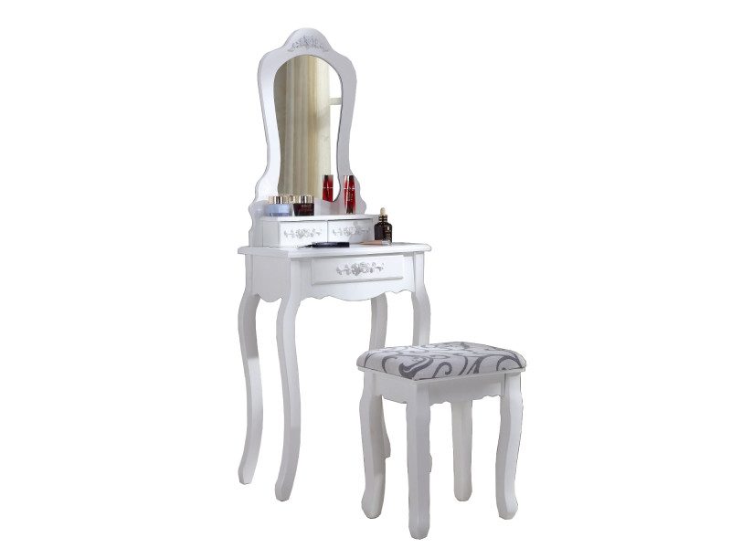 Coiffeuse blanche table de maquillage avec si ge et - Table de maquillage conforama ...
