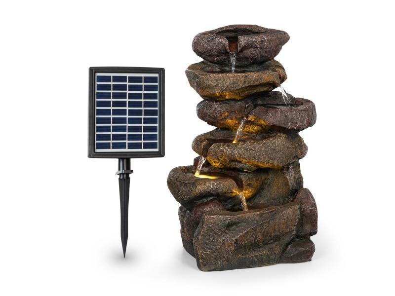 Blumfeldt savona fontaine solaire de jardin en polyrésine - panneau 9v - batterie autonome 5h - eclairage led - aspect pierre LEU13-Savona