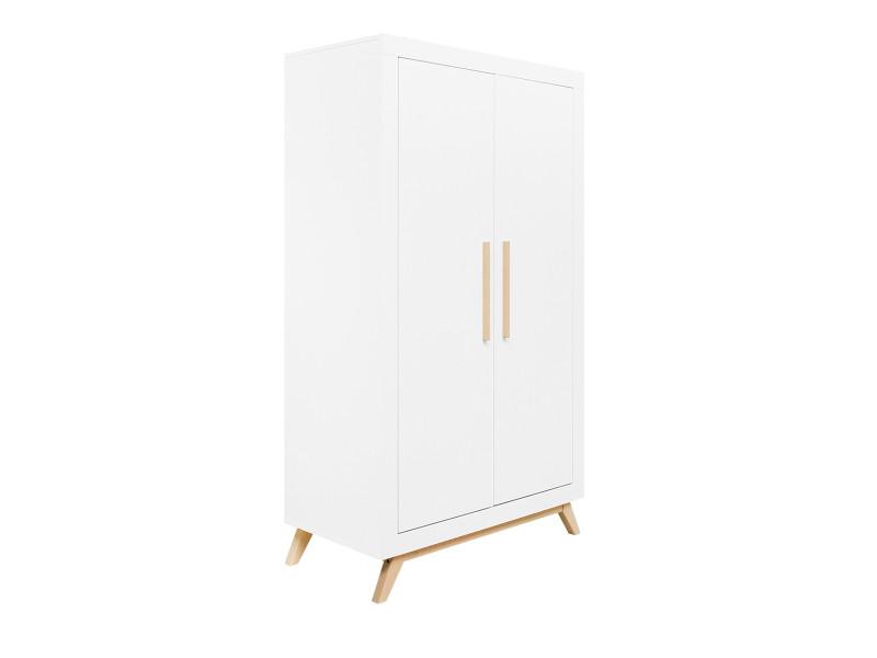 Armoire 2 portes fenna - blanc et bois naturel