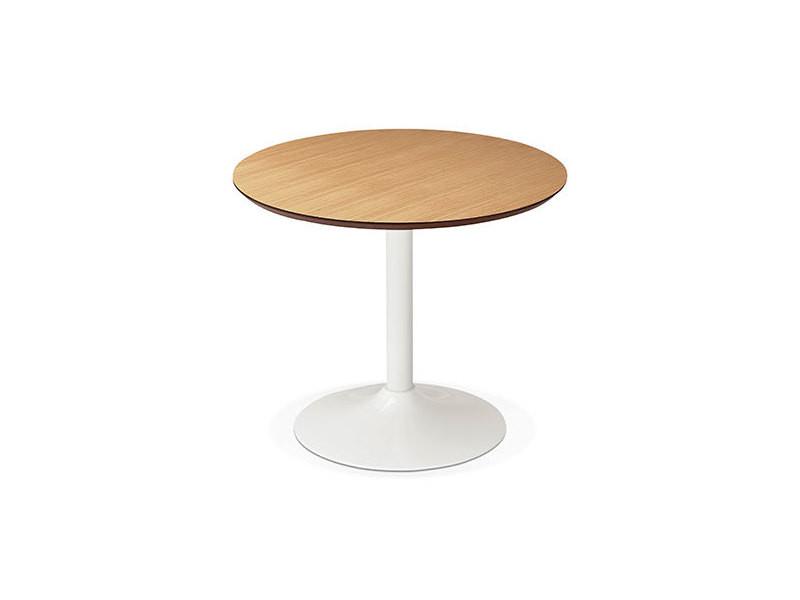 Table à manger ronde 90 cm en bois naturel et métal blanc - franklin