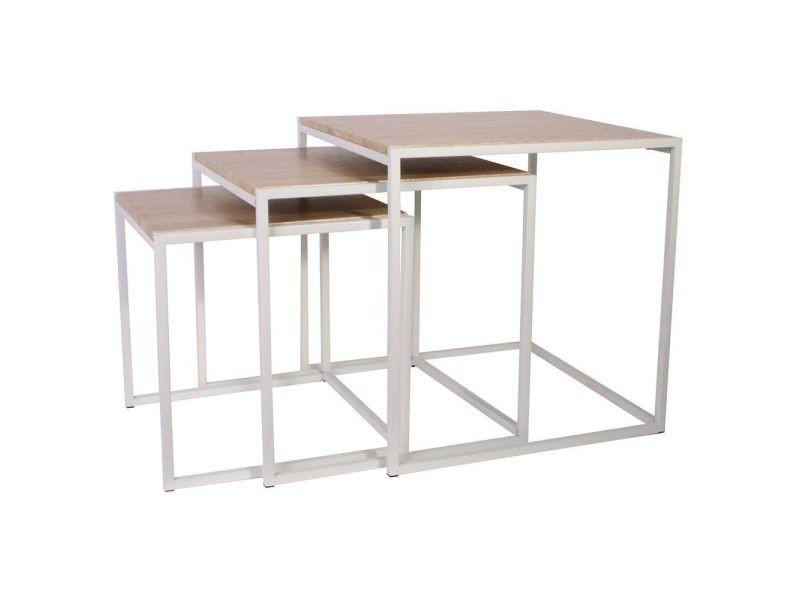 Tables carrées gigognes métal et bois (lot de 3)
