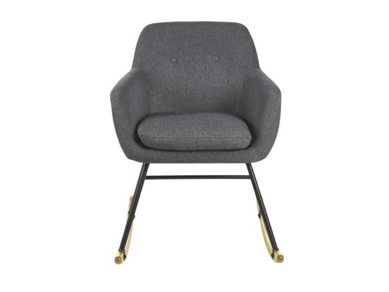 Fauteuil jens fauteuil a bascule rocking chair - tissu gris anthracite - scandinave - l 63 x p 75 cm