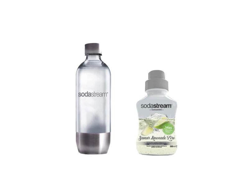 Pack sodastream bouteille base métal pet 1l - concentré limonade zero 500 ml 3000082-30078075
