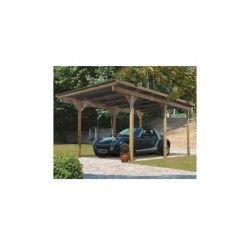 Carport simple en pin autoclave avec toit pvc 14,9m² - karibu