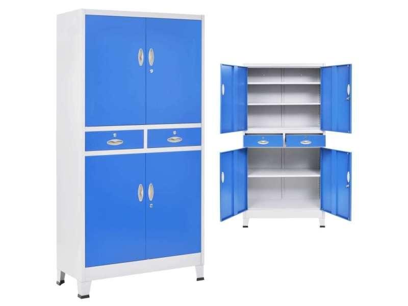 Distingué armoires et meubles de rangement ensemble bamako armoire de bureau avec 4 portes métal 90x40x180 cm gris et bleu