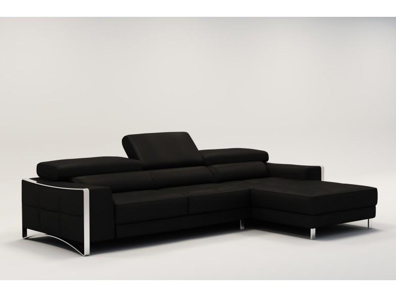 Canapé d'angle design en cuir noir sheyla-