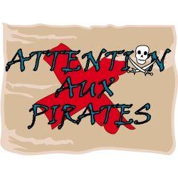 Stickers enfant lili pouce plaque de porte - attention aux pirates