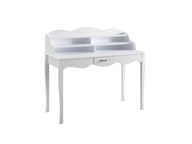 Bureau 1 tiroir en bois blanc bu4011 vente de bureau conforama