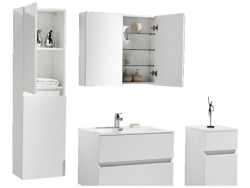 armoire de toilette bloc miroir siena largeur 80 cm blanc laqu vente de salle de bain pr tes. Black Bedroom Furniture Sets. Home Design Ideas